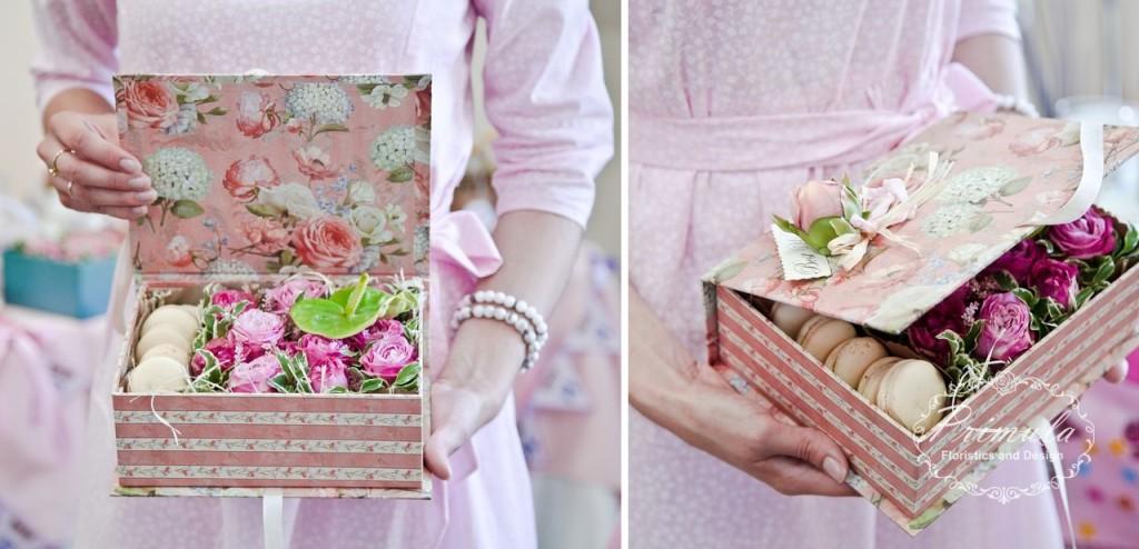 Цветочная коробочка с макаронс Новосибирск